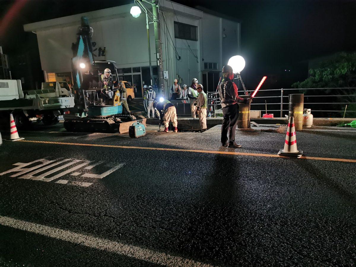 道路の補修工事風景