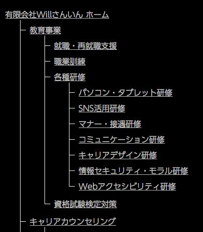 画像:ハイコントラスト環境でのサイトマップ